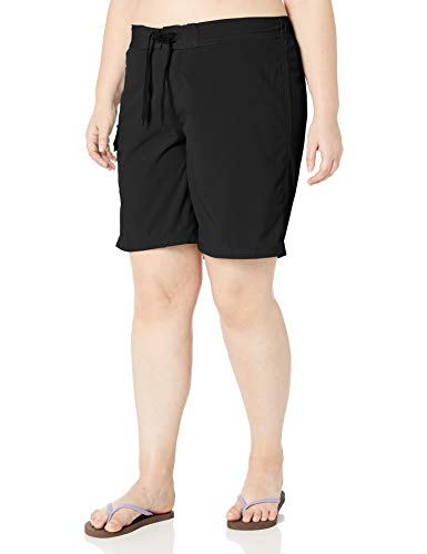 Kanu Surf Women's Plus Size Marina Solid Stretch Boardshort, Black, 2X