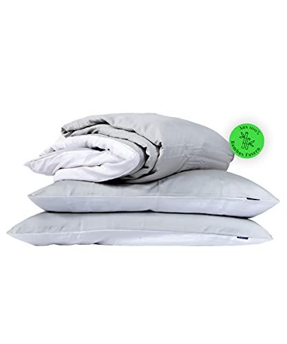 Bedtime Juego de ropa de cama de bambú, funda nórdica de 155 x 220 cm y 2 fundas de almohada de 80 x 80 cm, color gris/blanco, ropa de cama transpirable