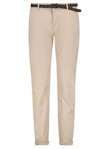 Sublevel Damen Basic Chino-Hose mit Flecht-Gürtel Baumwolle Light-beige XL