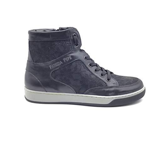 PATRIZIA PEPE Sneakers aus Leder / Spitze, Schnürung mit Reißverschluss. Farbe: Schwarz., Schwarz - Schwarz - Größe: 36 EU