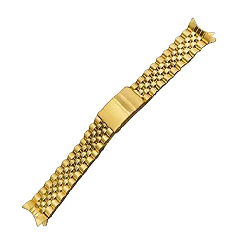 XINGFUQY Acero Inoxidable 316L 18 mm 19 mm 20 mm Jubilee Gold 2 Tone Gold Gold Strap Strap Fit para Rolex Seiko Watch (Band Color : Gold, Band Width : 20mm)