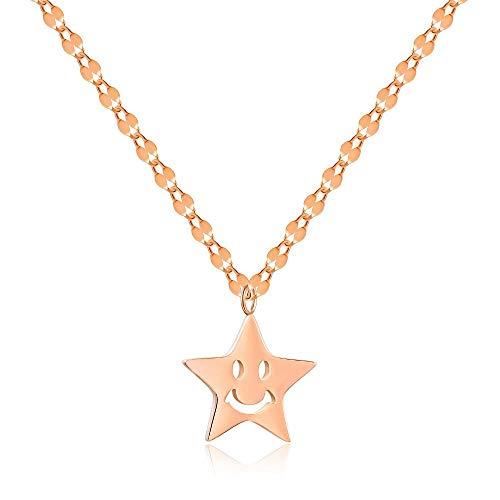 yrfchgj Collar Collar con Colgante De Pentagrama Sonriente con Personalidad Creativa De Moda Regalo De Joyería De Oro Rosa