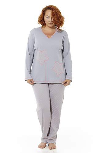 Dames winter pyjama in grote maten. Verschillende stempels. Lange mouwen. Grote maten. Mabel Big&Beauty maten 50 tot 70.