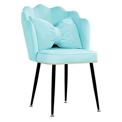 Moderne Samt Esszimmerstühle Bürostuhl Dicker Kissensitz mit Rückenlehne und Armlehne Schwarze Stahlbeine für Wohnzimmer/Esszimmer/Cafe (Farbe: Lake Blue, Größe: 1Stück)