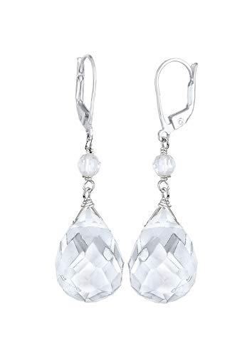 Elli Ohrringe Damen Tropfen Elegant Festlich mit Bergkristall Weiß in 925 Sterling Silber