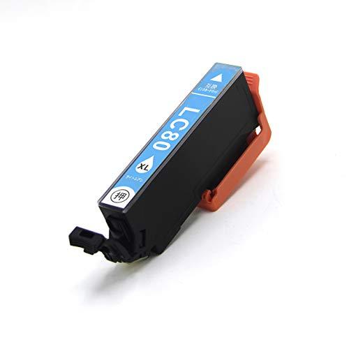ICLC80L ライトシアン 単品 増量タイプ EPSON エプソン プリンター 用 互換インク ICチップ付 残量表示機能付 IC80 IC 80 IC-80 EP-707A EP-708A EP-777A EP-807AB EP-807AR EP-807AW EP-808AB EP-808AR EP-808AW EP-907F EP-977A3 EP-978A3 EP-979A3 (LC)