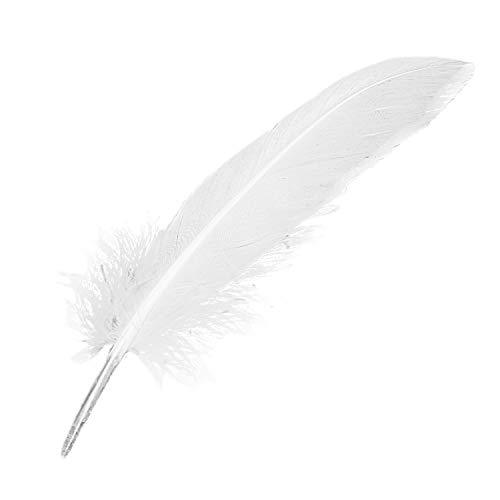 Binchil 100pcs Piume D'Oca Piume Bianche per Partito Cappello Artigianato Decorazione di Nozze 15-22 Cm
