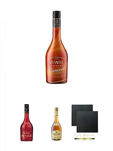 Chantrè CARAMEL 0,7 Liter + Chantrè Cuvee Rouge 0,7 Liter + Chantrè deutscher Weinbrand 0,7 Liter + Schiefer Glasuntersetzer eckig ca. 9,5 cm Ø 2 Stück