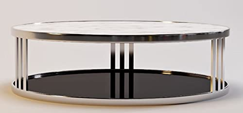 Casa Padrino Mesa de Centro de Lujo Plata/Blanco/Negro Ø 115 x A. 33 cm - Mesa de salón Redonda con Tapa de mármol y Vidrio Tintado - Muebles de Lujo
