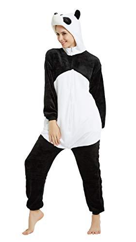 FunnyCos - Pijama unisex para disfraz de disfraz de Halloween para adultos Negro Panda 3D. L