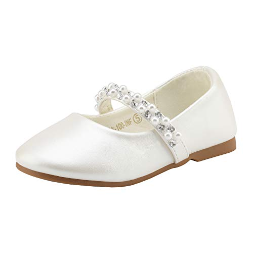 DREAM PAIRS SERENA-100-INF Mary Jane Casual Slip On Ballerina Flat Toddler New Ivory Size 6