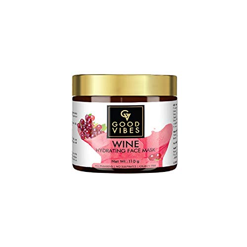 Good Vibes Wine Hydrating Face Mask, 100 g Skin Softening Moisturizing Face Mask For All Skin Types, Helps Reduce Signs Of Ageing, No Parabens & Sulphates