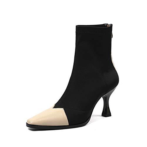 SHZSMHD Dameslaarzen, punt-garen, elastische laarzen in zeldzame stijl, hak met hoge hakken, vrouwelijk, sokken, laarzen, lente
