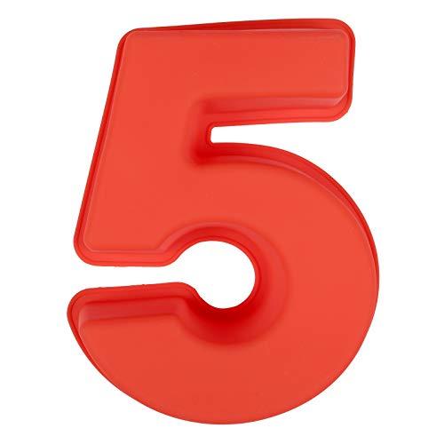 LIHAO Molde de Silicona Números Moldes de Formas Específicas para Tarta Pastel Repostería Cumpleaños Aniversario de Bodas - Número 5