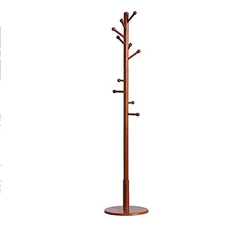 Madera Perchero De Pie con 10 Ganchos Perchero para Abrigos Altura De 180cm Fácil Montaje para Sala De Estar Silla Oficina Entrada Perchero para Colgar Ropa con Chasis Redondo per-Marrón. 40x40x180cm