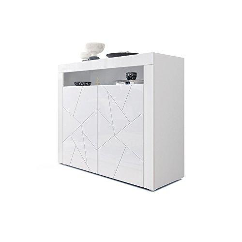 Cómoda Valencia, Cuerpo en Blanco Mate/Frentes en Blanco de Alto Brillo con Estructura 3D Elemento y Marcos en Blanco de Alto Brillo