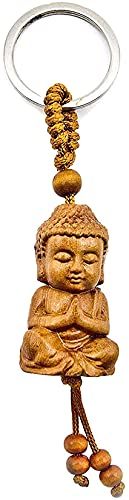 AXLorange Schlüsselanhänger Buddha aus Holz Bhudda Glück