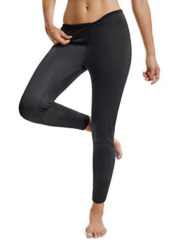 FITTOO Damen Neopren Schwitzhose zum Training, Figurformende Capri für Yoga Joggen, Sport Mädchen Abnehmen Schlanke Fitnesshose (M, Legging - Schwarz)