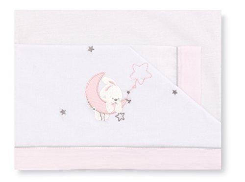 Pirulos 00913114 - Tríptico sábanas, diseño luna, 80 x 140 cm, color blanco y rosa