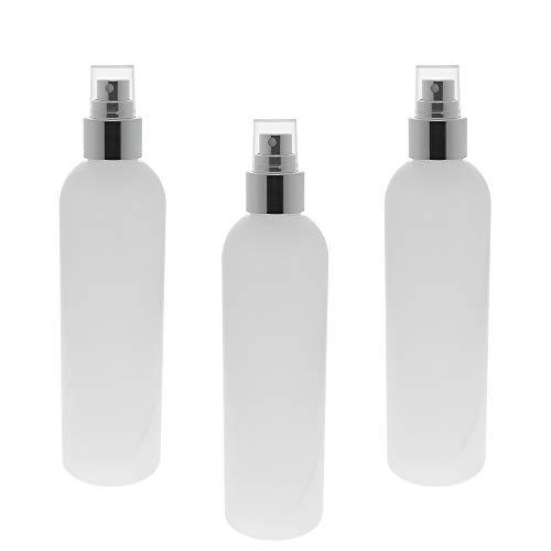 Leere Flasche mit Silber Zerstäuber 250ml, Kosmetex Boston Sprüh-Flasche, Plastik, zylindrisch, transparent (3 Flaschen)