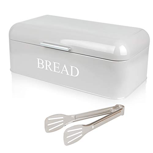 PAOPASE Large Bread Box For Kitchen Counter Dry Food Storage Container, Bread Bin, Store Bread Loaf, Baked Goods & More, Retro Vintage Design, Grey