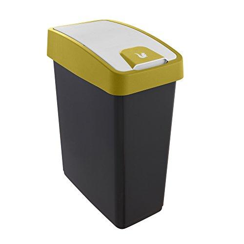 keeeper Cubo de la Basura Premium con Tapa Abatible, Tacto suave, 25 l, Magne, Amarillo