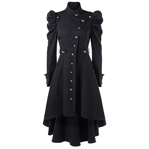 PinkLu Damen Winterjacke Langer schwarzer Vintage Mantel Elegante hochgeschlossene Streetwear Mittelalter Gotischer Stil Jackenkleid Slim Fit Taille Festliches Kostüm Plissee Ärmel Weihnachtskleidung