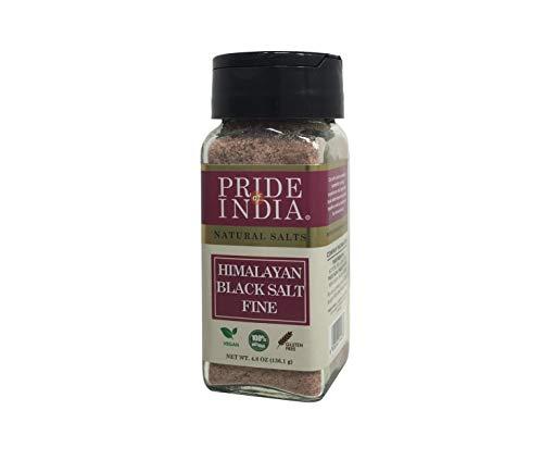 Pride Of India - Himalayan Black Rock Salt - Fine Grind, (4.8 oz) - Kala Namak, Contains 84+ Minerals, Perfect for Cooking, Tofu Scramble