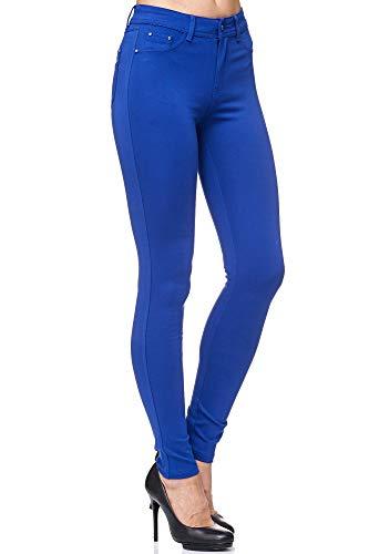Elara Pantalón Elástico de Mujer Skinny Fit Jegging Chunkyrayan Azul H01-16 Blue 36 (S)
