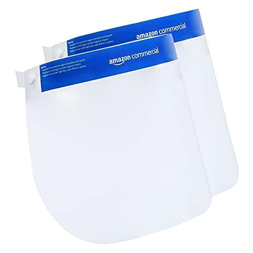 AmazonCommercial Visière de protection transparent pour visage, haute protection, large, facile à nettoyer (lot de 2)