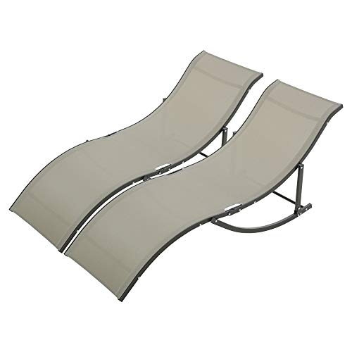 Outsunny Set of 2 S-shaped Foldable Lounge Chair Reclining Outdoor Chair for Patio Beach Garden Capacity 165x61x63cm Khaki