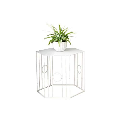 YUMEIGE-SIDE TABLE Side Tabke, Rhombus Bistro Side Table, Tray Side Table, Snack Table, Patio Coffee Table, Metal Iron,3 Size end table (Color : White, Size : 14.96 * 14.96in)