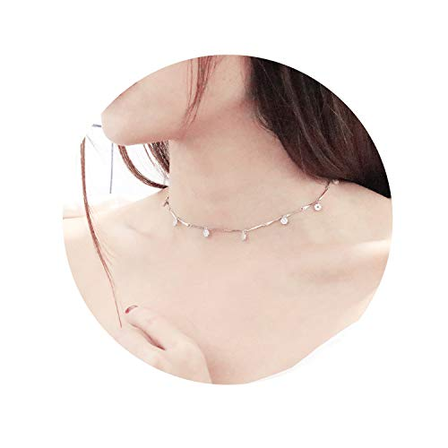 EGOO&YAMEE Round Flower Choker Necklace Cubic Zirconia Pendant Necklace Handmade Jewelry for Women Grils
