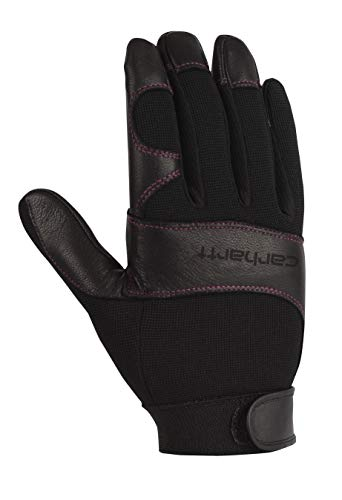 Carhartt Women's Dex II High Dexterity Work Glove with System 5 Palm and Knuckle Protection, black Winter/White Rose stitching, Medium