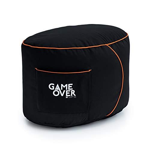 Game Over Reposapies Puff Pera De Video Juegos | Reposo De Pies Sala Interior | Bolsillos Laterales para Controles | Hecho En Reino Unido | Diseño Ergonómico (Fuego Eterno)