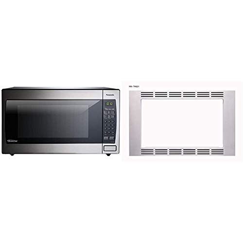"""Panasonic Microwave Oven NN-SN966S Stainless Steel Countertop/Built-In, 2.2 Cubic Foot, 1250W & 27"""" Trim Kit 1.2cu ft Microwave Oven NN-TK621SS (Stainless Steel), 1.2cft"""