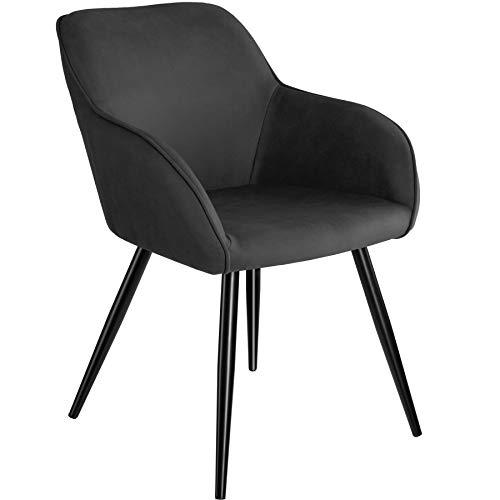 TecTake 800846 Esszimmerstuhl mit Armlehnen, gepolsterte Stoff Sitzfläche, Schwarze Metallbeine, für Wohnzimmer, Esszimmer, Küche und Büro (Anthrazit)