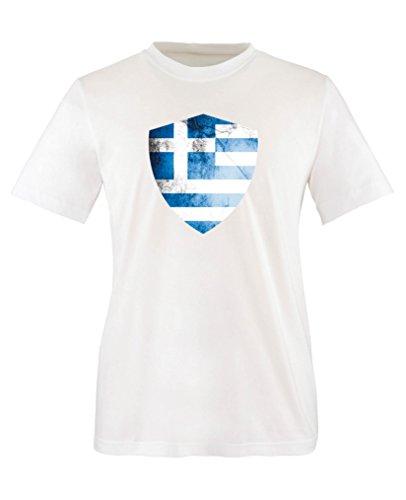 Comedy Shirts - Griechenland Trikot - Wappen: Groß - Wunsch - Kinder T-Shirt - Weiss/Blau Gr. 110-116