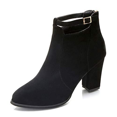 JiaMeng Mujeres Solo botón Totalmente Alineada Botas Piel a Prueba de Agua Nieve del Invierno Botines de tacón Alto Zapatos de tacón Alto