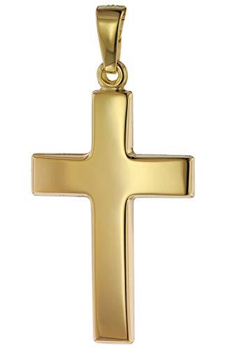 trendor Anhänger Kreuz Gold 585 (14 Karat) 24 mm Damen und Herren Goldanhänger, modischer Kreuzanhänger, Geschenkidee, eleganter Schmuck aus Echtgold 75268