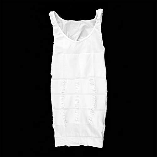 Rendeyuan Hombres Corsé Body Adelgazante Tummy Shaper Chaleco Belly Waist Faja Camisa Fajas Ropa Interior Cintura Faja Camisa - Blanco - XL