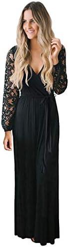 Zattcas Womens Vintage Floral Lace Long Sleeve Faux Wrap V Neck Party Long Maxi Dress Black product image