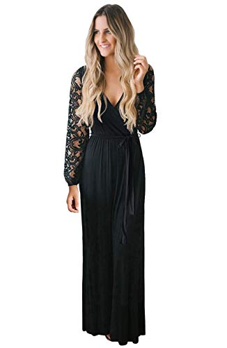 Zattcas Women's Vintage Lace Long Sleeve Faux Wrap V Neck Evening Party Maxi Dress Black X-Large Mississippi