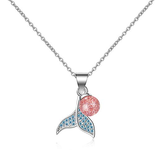 Yikoly Necklace Silver 925 Ladies Girls Glitter Blue Zirconia Mini Dolphin Tail Charm Fashion Y Chain Necklace Pendant with Chain for Daughter Girlfriend Adjustable