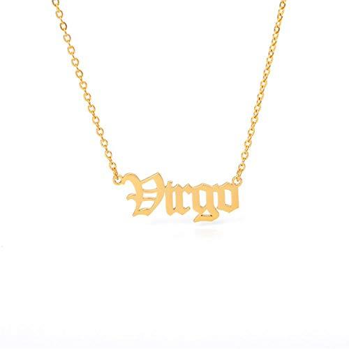 LKYH Collares Constelaciones Collar de Letras para Mujeres Hombres Virgo Escorpio Sagitario Capricornio Acuario Regalo de cumpleaños A3