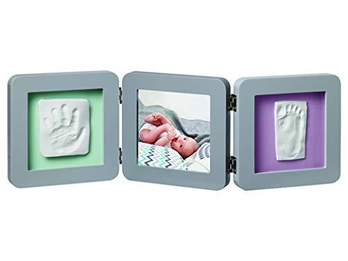 Baby Art - Bilderrahmen dreiteilig mit Gipsabdruck und Foto für Baby Fußabdruck oder Handabdruck, My Baby Touch, abgerundet, grey