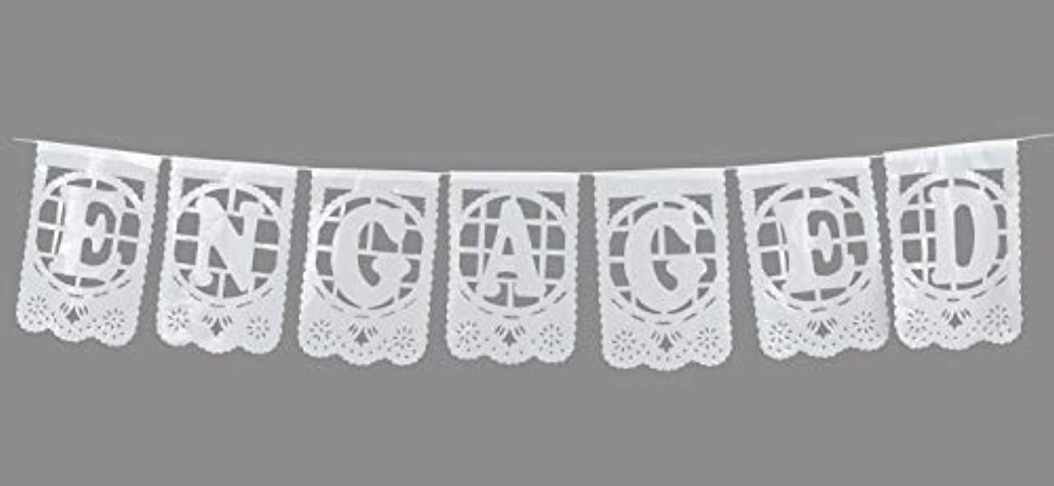 Paper Full of Wishes Small White Plastic Banner - Engaged - Mexican Papel Picado Letrero