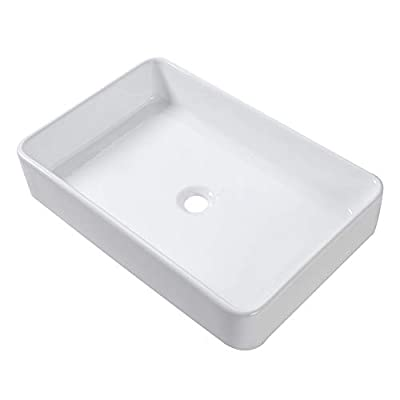 Lordear 24x16 Inch Rectangle Bathroom Vessel Sink Modern Bathroom Above Counter White Porcelain Ceramic Vanity Sink Art Basin