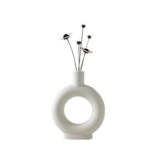 Cratone Vase Beige Keramik Moderne Kunst Vase U-Form Keramik Donut Vase Abstraktion Blumen Vase Dekoration Nordic Modern Style Blumenvasen Topf für Blumen Wohnzimmer Büro Home Dekoration (Beige 2)