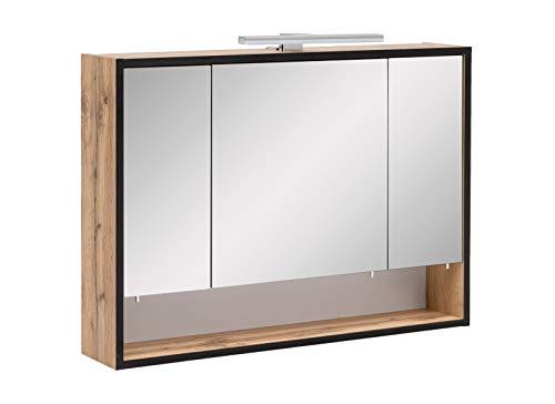 lifestyle4living Spiegelschrank mit Beleuchtung | Bad-Schrank mit 3 Türen und 1 Steckdose | Hängeschrank mit 3 Glas-Einlegeböden und 1 offenes Fach